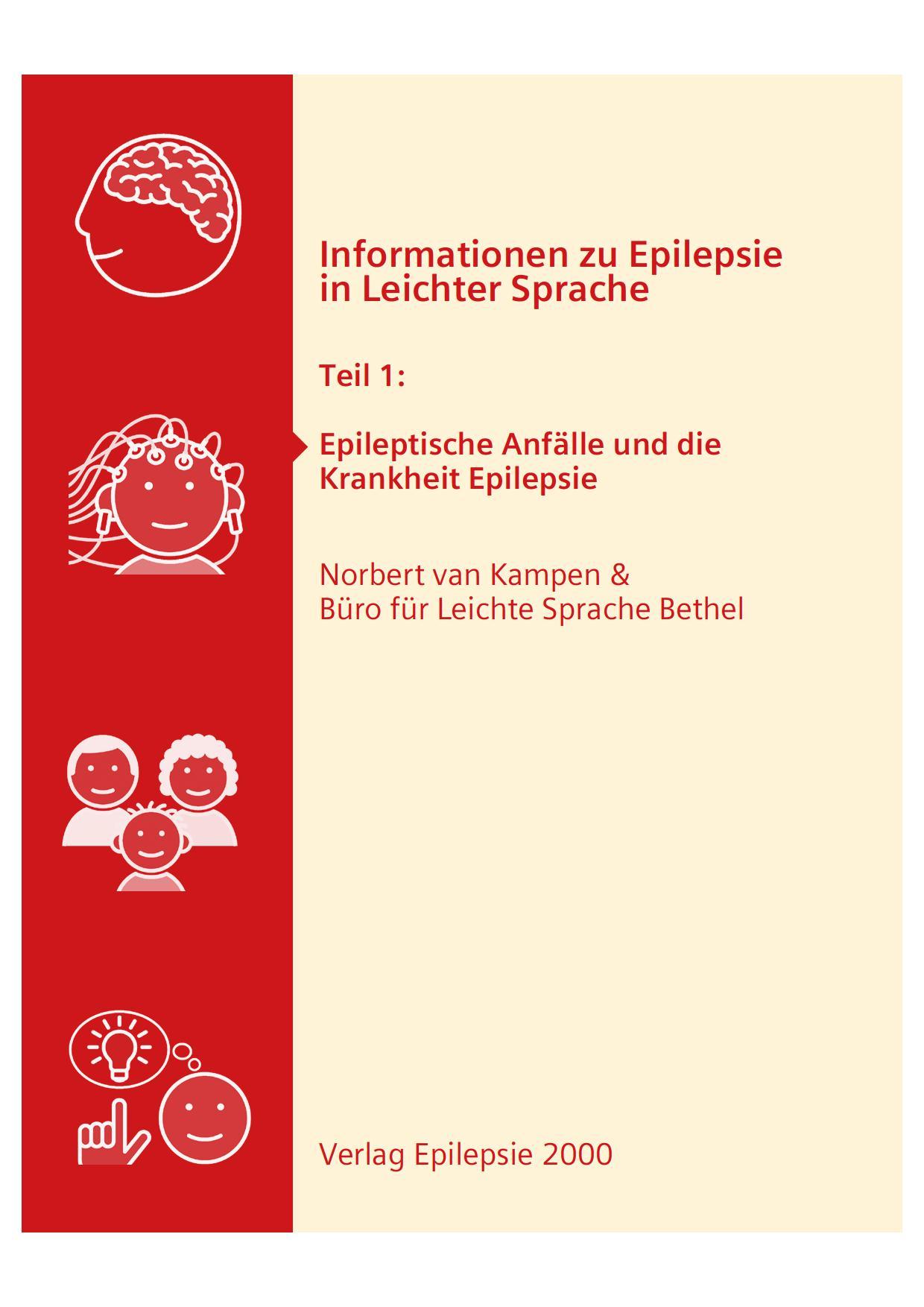 Titelbild Broschüre Epilepsie in Leichter Sprache - Teil 1 Epileptische Anfälle und die Krankheit Epilepsie