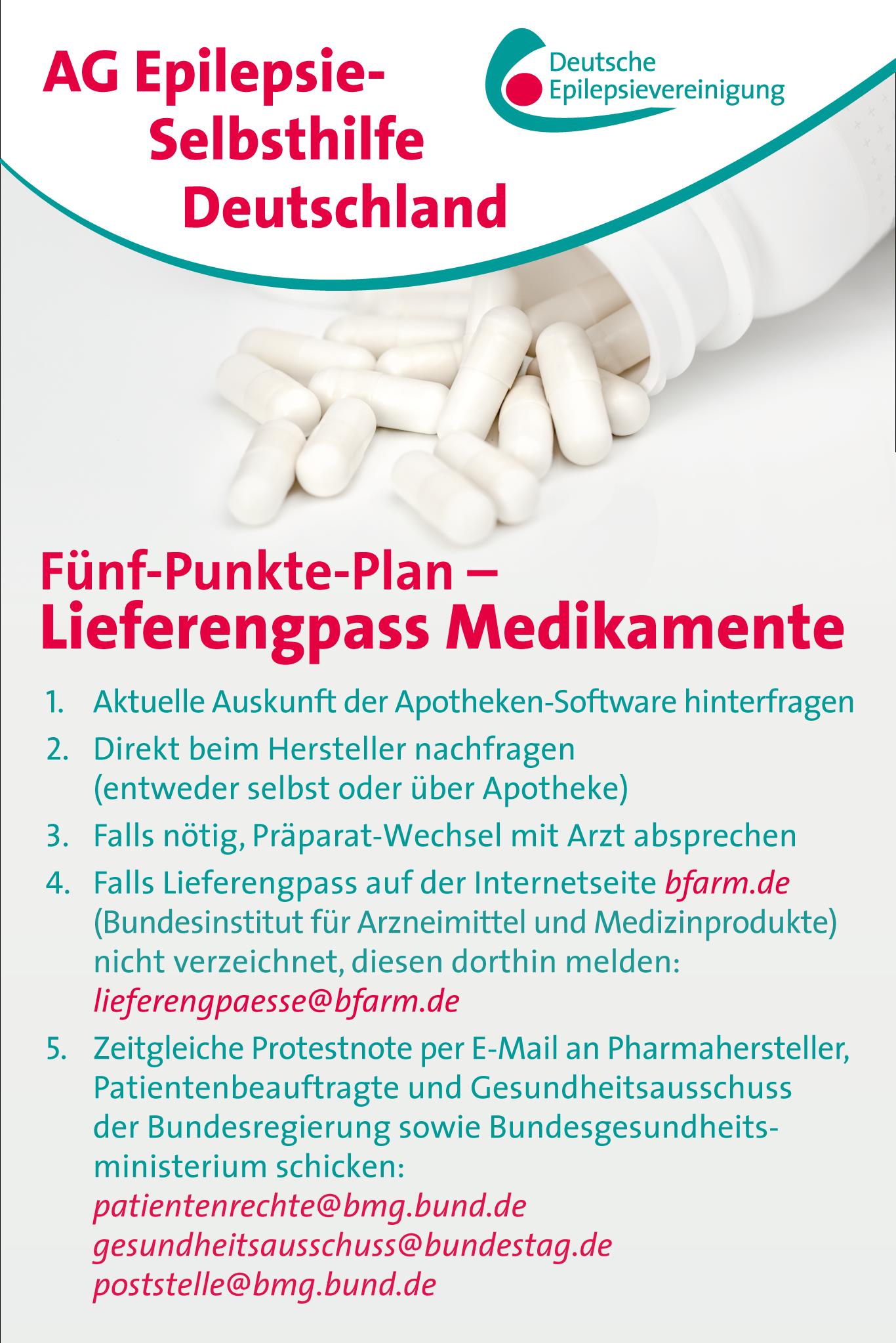 Fünf-Punkte-Plan – Lieferengpässe bei Medikamenten