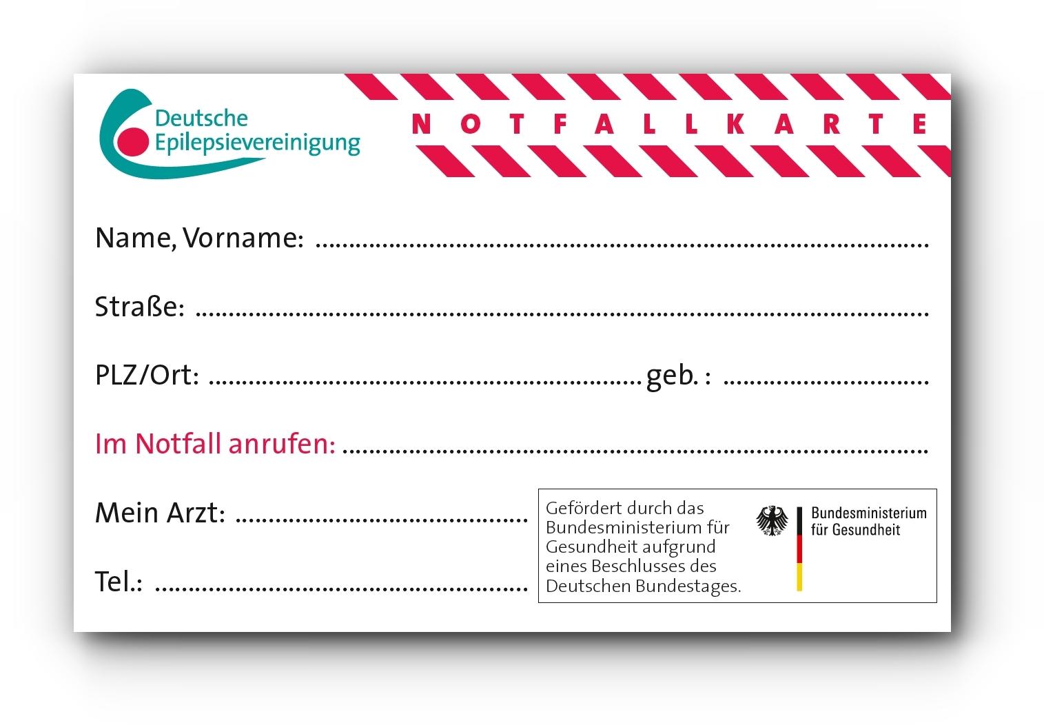Epilepsie-Notfallkarte, Notfallausweis für Menschen mit Epilepsie